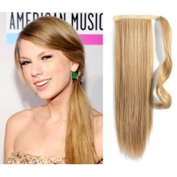 "Clip in ponytail wrap / braid hair extensions 24"" straight – light blonde / natural blonde"