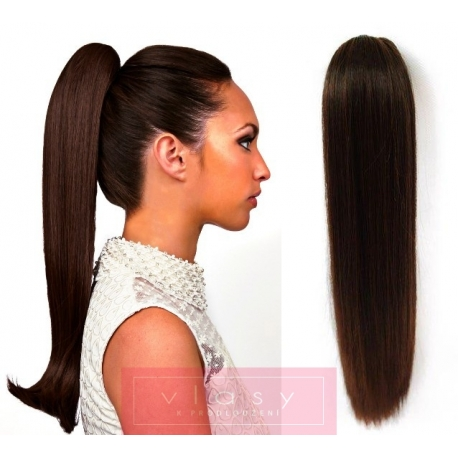 Clip in claw ponytail 24 inch straight – dark brown