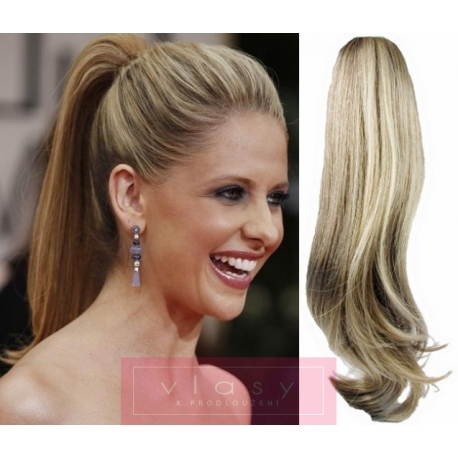 Clip in claw ponytail 24 inch straight – platinum / light brown