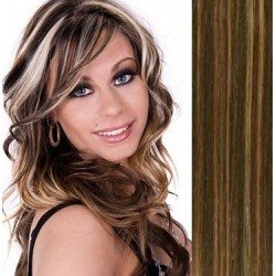 Clip in human hair 63cm – REMY 120g – dark brown / blonde