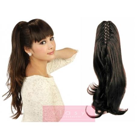 Clip in claw ponytail 24 inch wavy – dark brown