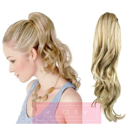 Clip in claw ponytail 24 inch wavy – platinum / light brown