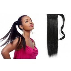 Clip in wrap ponytail 100% human hair extension 20 inch straight - black