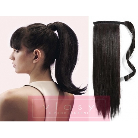 Clip in wrap ponytail 100% human hair extension 20 inch straight – natural black