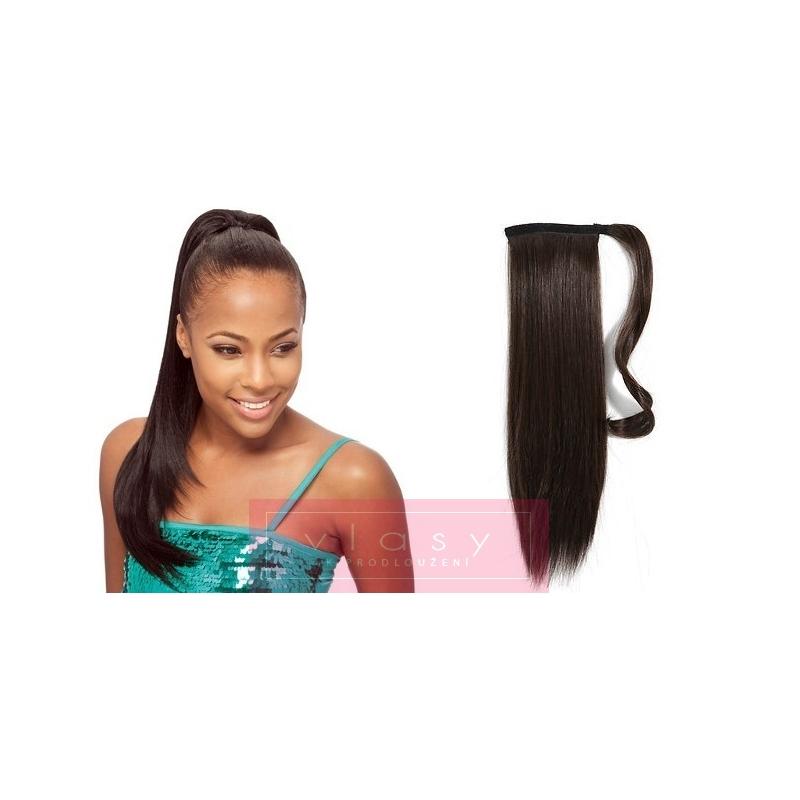 Clip in příčesek culík cop 100% lidské vlasy 50cm - tmavě hnědý 74a0ddee28