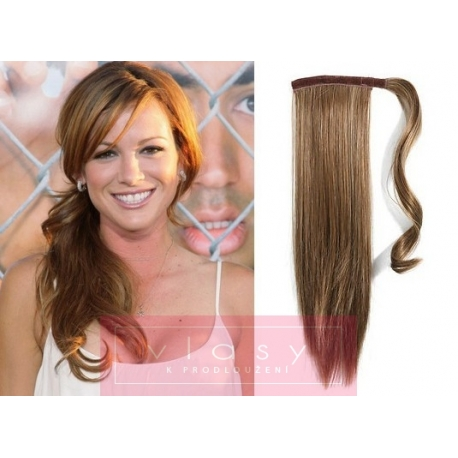Clip in wrap ponytail 100% human hair extension 20 inch straight – light brown