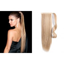 Clip in wrap ponytail 100% human hair extension 20 inch straight – natural blonde