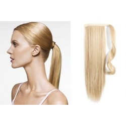 Clip in wrap ponytail 100% human hair extension 20 inch straight – the lightest blonde