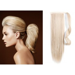 Clip in wrap ponytail 100% human hair extension 20 inch straight – platinum blonde