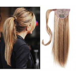 Clip in wrap ponytail 100% human hair extension 20 inch straight – mixed blonde