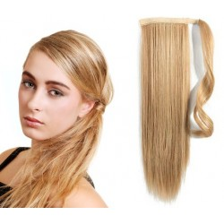 Clip in wrap ponytail 100% human hair extension 20 inch straight – light blonde / natural blonde