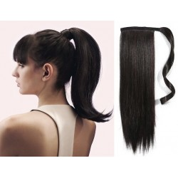 Clip in wrap ponytail 100% human hair extension 24 inch straight – natural black
