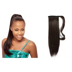 Clip in wrap ponytail 100% human hair extension 24 inch straight – dark brown