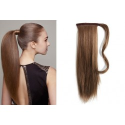 Clip in wrap ponytail 100% human hair extension 24 inch straight – medium brown