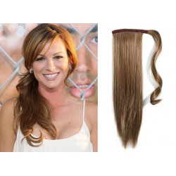 Clip in wrap ponytail 100% human hair extension 24 inch straight – light brown