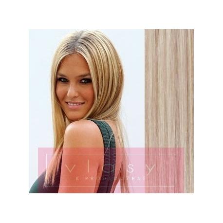 Clip in human hair 63cm – REMY 120g – platinum / light brown