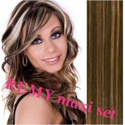"Clip in maxi set 16"" (43cm) human hair - REMY 140g – dark brown / blonde"