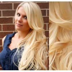 "Wavy clip in hair extensions 20"" (53cm) 100% human hair – REMY 100g – the lightest blonde"