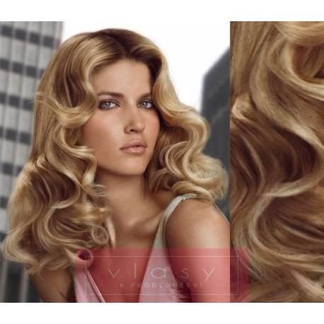 """Wavy clip in hair extensions 20"""" (53cm) 100% human hair – REMY 100g – light blonde / natural blonde"""