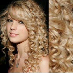 """Curly clip in hair extensions 20"""" (53cm) 100% human hair – REMY 100g – the lightest blonde"""