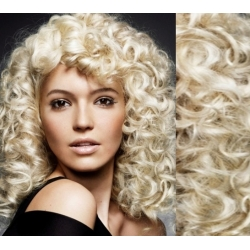 """Curly clip in hair extensions 20"""" (53cm) 100% human hair – REMY 100g – platinum blonde"""
