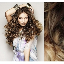 """Curly clip in hair extensions 20"""" (53cm) 100% human hair – REMY 100g – dark brown / blonde"""