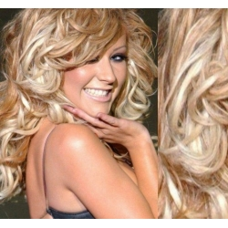 "Curly clip in hair extensions 20"" (53cm) 100% human hair – REMY 100g – platina / svetlo hnedá"