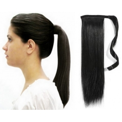 "Clip in ponytail wrap / braid hair extensions 24"" straight - black"