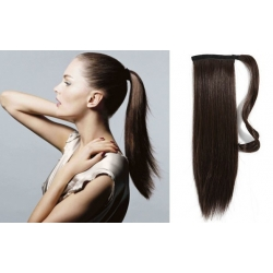 "Clip in ponytail wrap / braid hair extensions 24"" straight – dark brown"