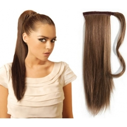 "Clip in ponytail wrap / braid hair extensions 24"" straight – medium brown"
