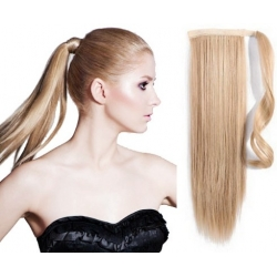 "Clip in ponytail wrap / braid hair extensions 24"" straight – natural blonde"