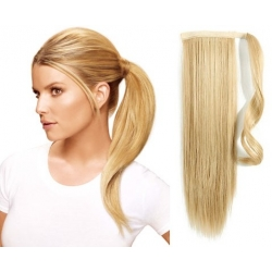 "Clip in ponytail wrap / braid hair extensions 24"" straight – the lightest blonde"