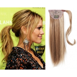 "Clip in ponytail wrap / braid hair extensions 24"" straight – mixed blonde"