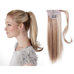 "Clip in ponytail wrap / braid hair extensions 24"" straight – platinum / light brown"