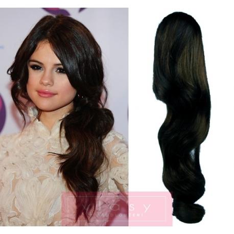 "Wavy clip in ponytail wrap / braid hair extensions 24"" wavy – black"