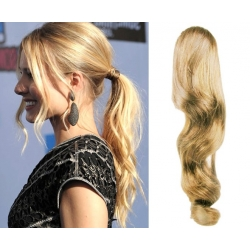 "Wavy clip in ponytail wrap / braid hair extensions 24"" wavy – natural blonde"