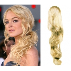 "Wavy clip in ponytail wrap / braid hair extensions 24"" wavy – the lightest blonde"