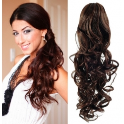 "Curly clip in ponytail wrap / braid hair extensions 24"" – dark brown"