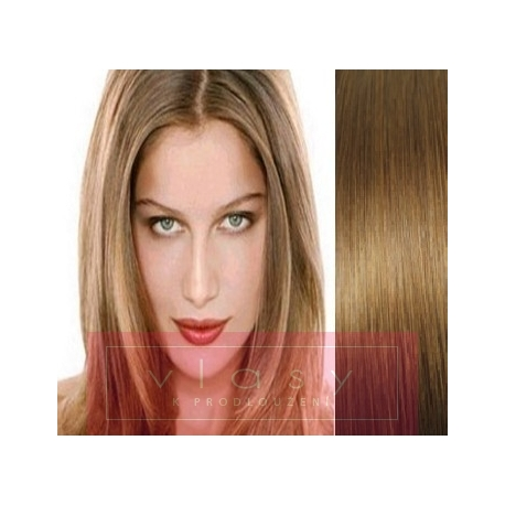"""Clip in hair extensions 20"""" (53cm) 100% human hair – REMY 100g – light brown"""