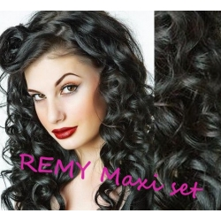 "Wavy clip in maxi set 20"" (53cm) human hair - REMY 200g - black"