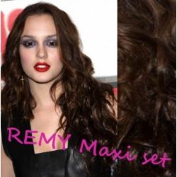 Vlnitý clip in maxi set 53cm pravé lidské vlasy – REMY 200g - TMAVĚ HNĚDÁ