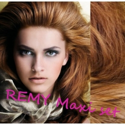 """Wavy clip in maxi set 20"""" (53cm) human hair - REMY 200g – light brown"""