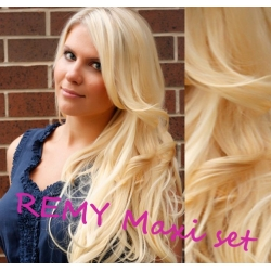 """Wavy clip in maxi set 20"""" (53cm) human hair - REMY 200g – the lightest blonde"""