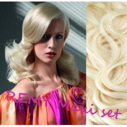 "Wavy clip in maxi set 20"" (53cm) human hair - REMY 200g – platinum blonde"