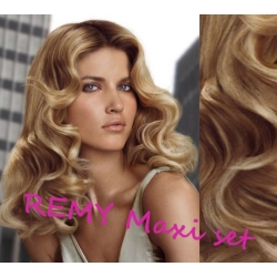 "Wavy clip in maxi set 20"" (53cm) human hair - REMY 200g – light blonde / natural blonde"