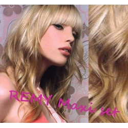 "Wavy clip in maxi set 20"" (53cm) human hair - REMY 200g – platinum / light brown"