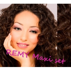 "Curly clip in maxi set 20"" (53cm) human hair - REMY 200g – dark brown"