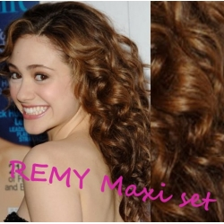 "Curly clip in maxi set 20"" (53cm) human hair - REMY 200g – medium brown"