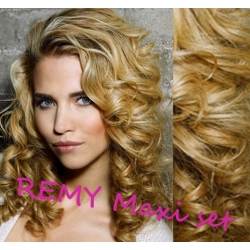 "Curly clip in maxi set 20"" (53cm) human hair - REMY 200g – natural blonde"