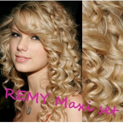 "Curly clip in maxi set 20"" (53cm) human hair - REMY 200g – the lightest blonde"